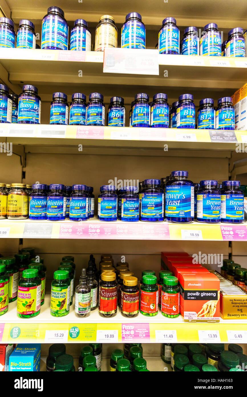 La vitamine B B12 B6 B2 biotine acide folique produit Ginseng produits pharmacie health shop UK Angleterre GO Photo Stock