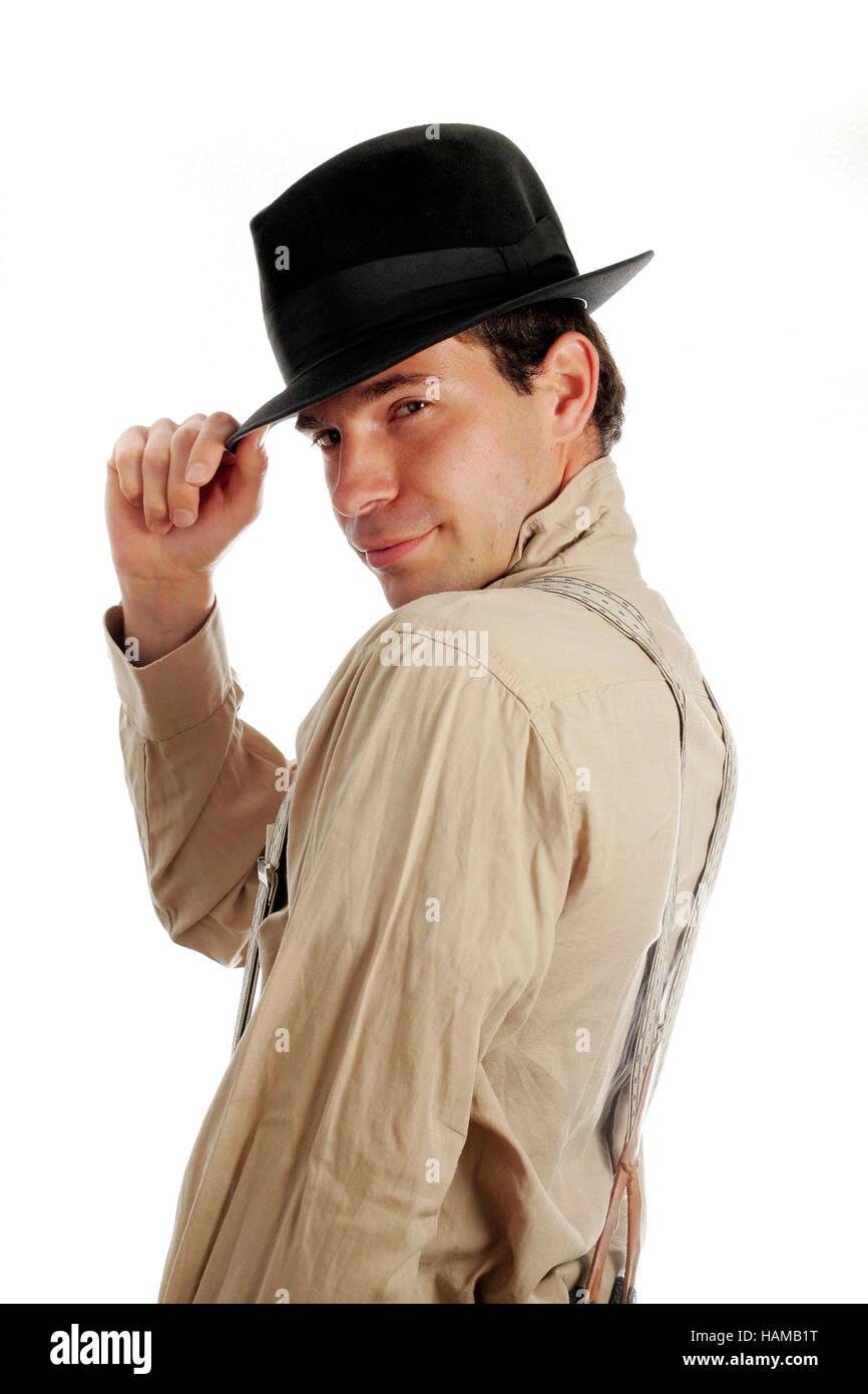 meilleur prix 50% de réduction sans précédent Portrait d'un jeune homme de style années 1920 avec chapeau ...