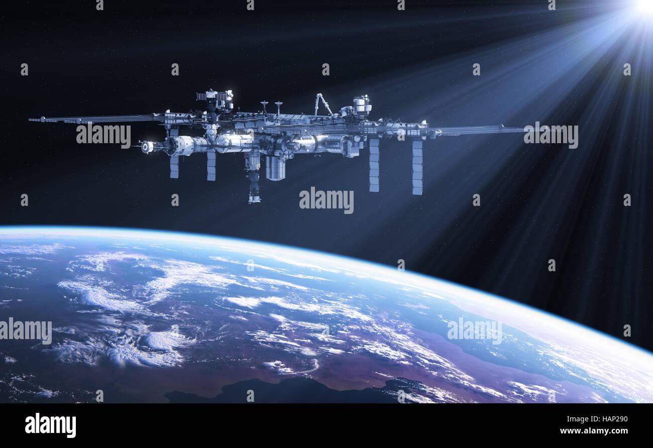 Station spatiale internationale dans les rayons de soleil Photo Stock
