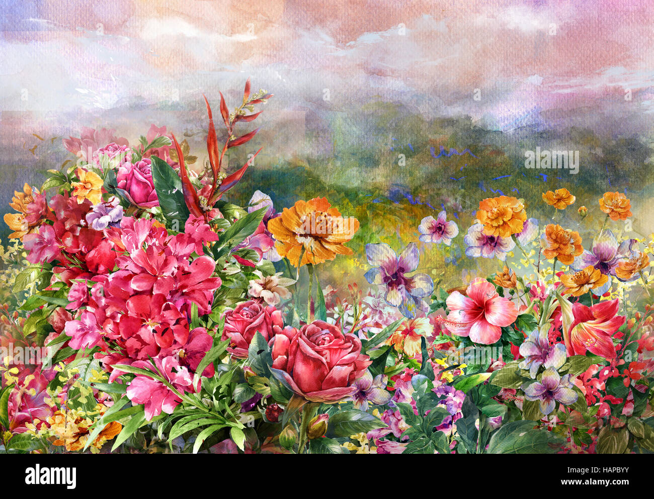 Paysage de fleurs multicolores style aquarelle. Photo Stock