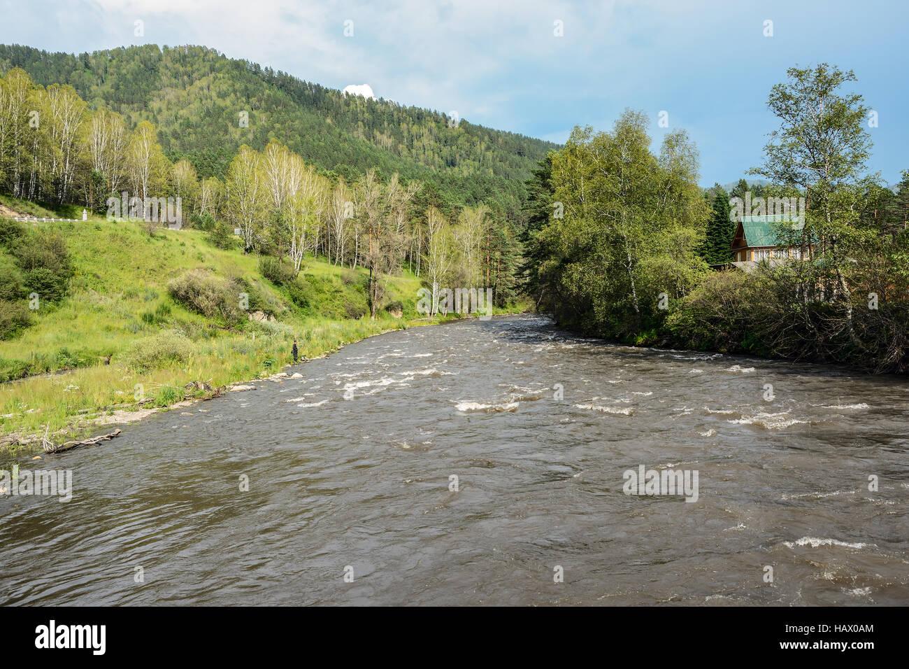 République de l'Altaï, Sema river près du village Kamlak Banque D'Images