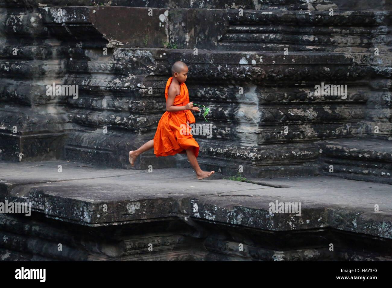 Jeune moine bouddhiste au Temple d'Angkor Wat à Siem Reap, Cambodge Photo Stock