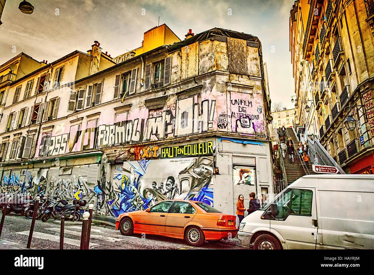 Paris street style vintage Banque D'Images
