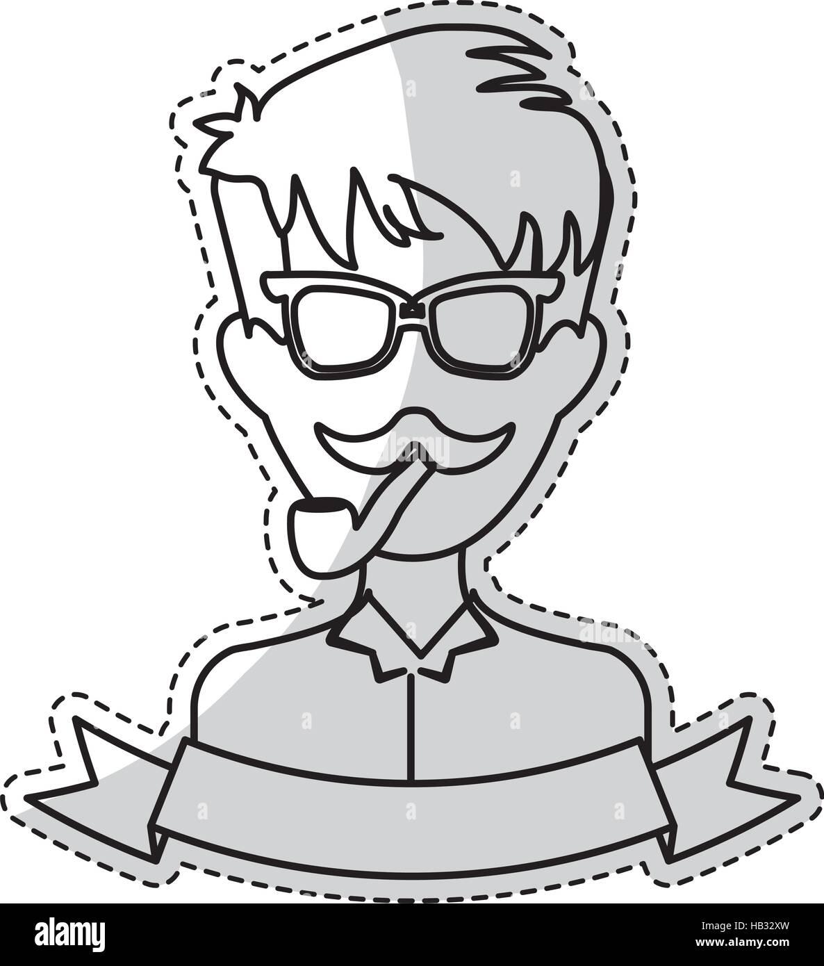 Sticker de lhomme face avec moustache et lunettes et ruban décoratif sur fond blanc
