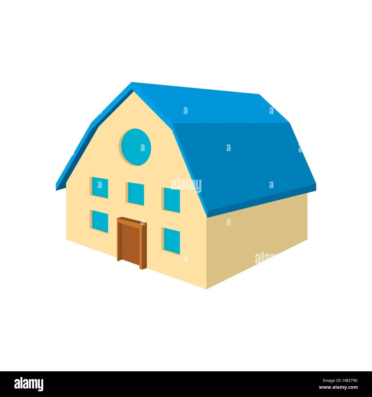 toit de maison dessin Maison à deux étages avec toit bleu icône dessin animé