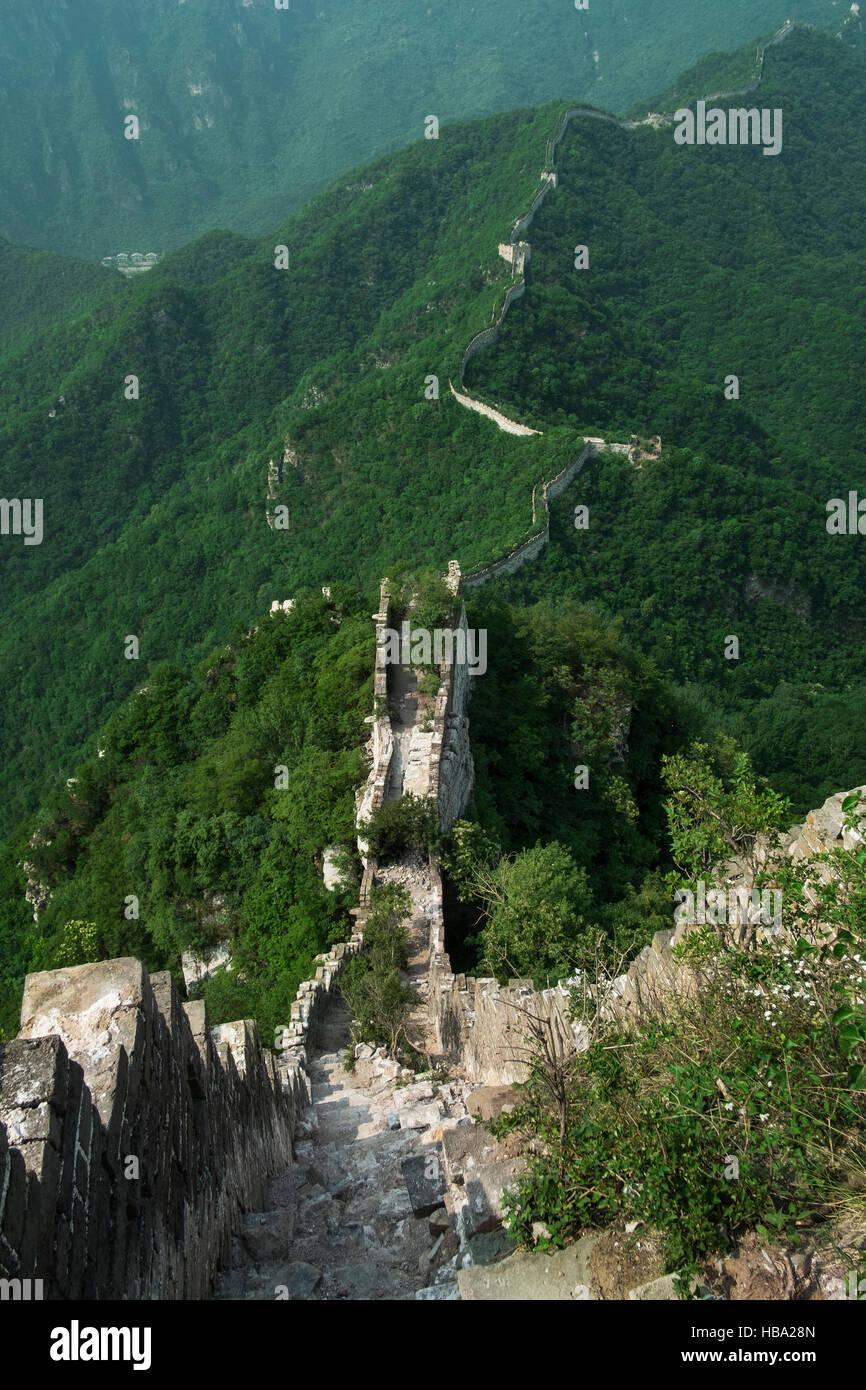 Jiankou Great Wall, Xizhazi, village du comté de Huairou, Beijing, Chine Photo Stock