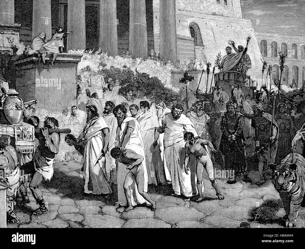 La mythologie grecque, le roi Persée et ses fils dans le cortège triomphal de Aemilius Paullus, hictorical Photo Stock