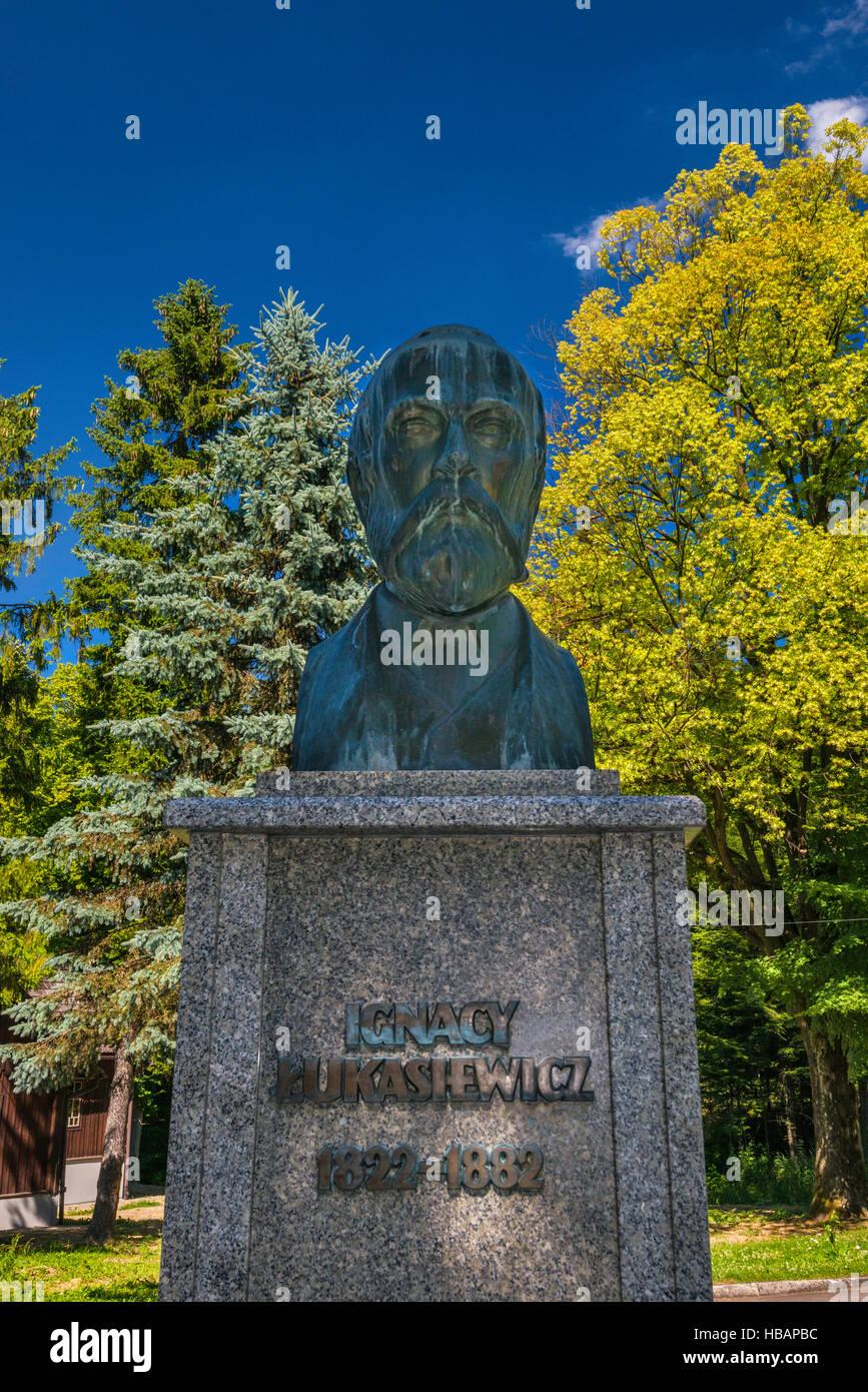 Buste d'Ignacy Lukasiewicz, qui construit du premier puits de pétrole moderne, musée de l'industrie Photo Stock