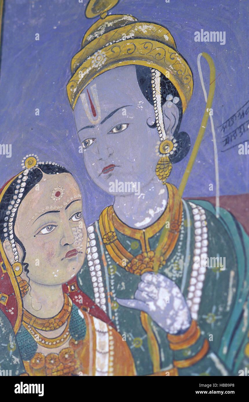 Inde - Rajasthan - Région du Shekawati - Village de Nawalgarh - Peinture à l'interieur d'une Haveli (palais) Banque D'Images