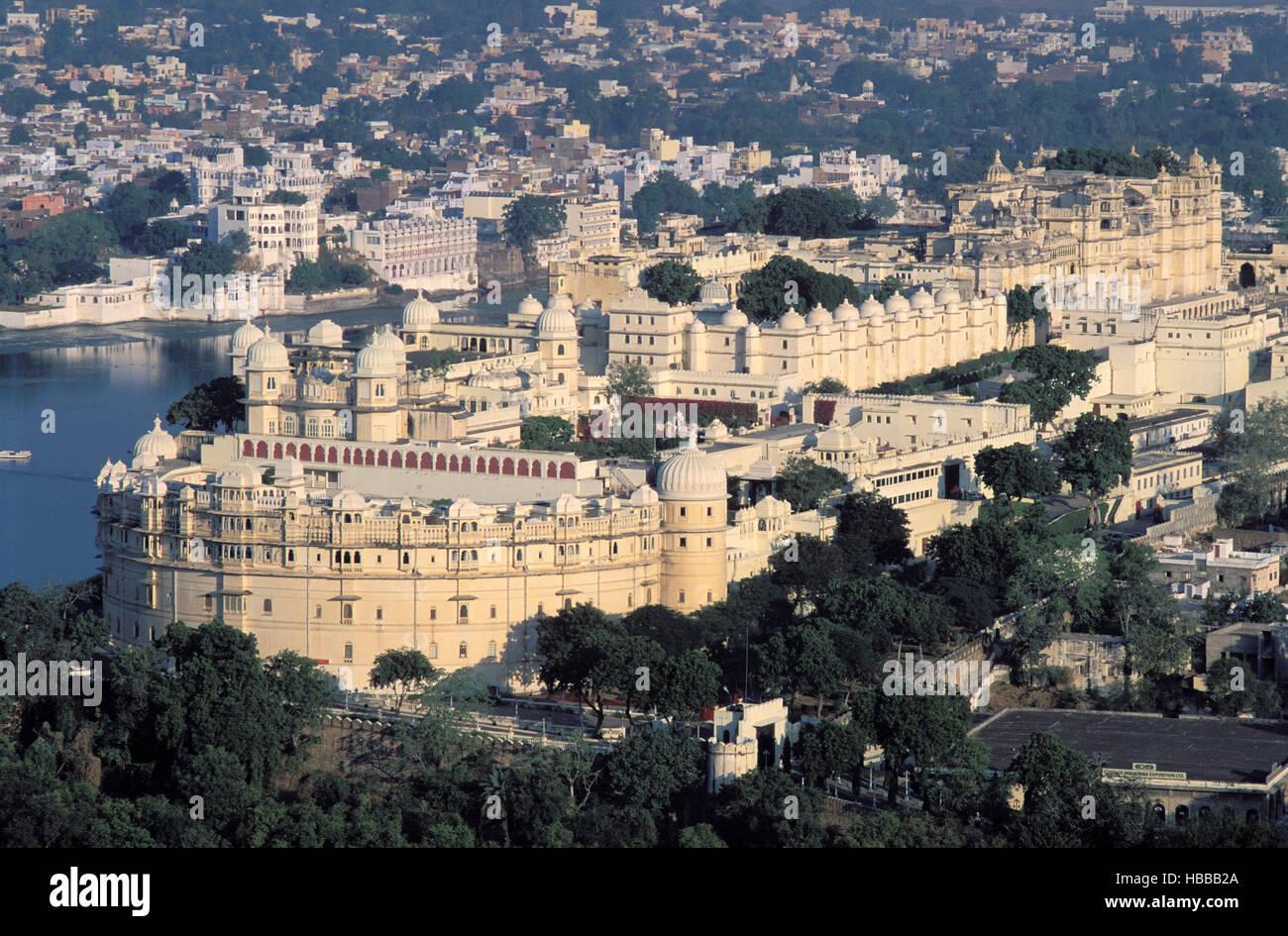 Inde - Rajasthan - Udaipur - City Palace - lac Pichola Banque D'Images