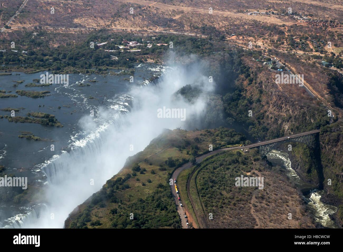 Victoria Falls, Zimbabwe, vue aérienne Photo Stock