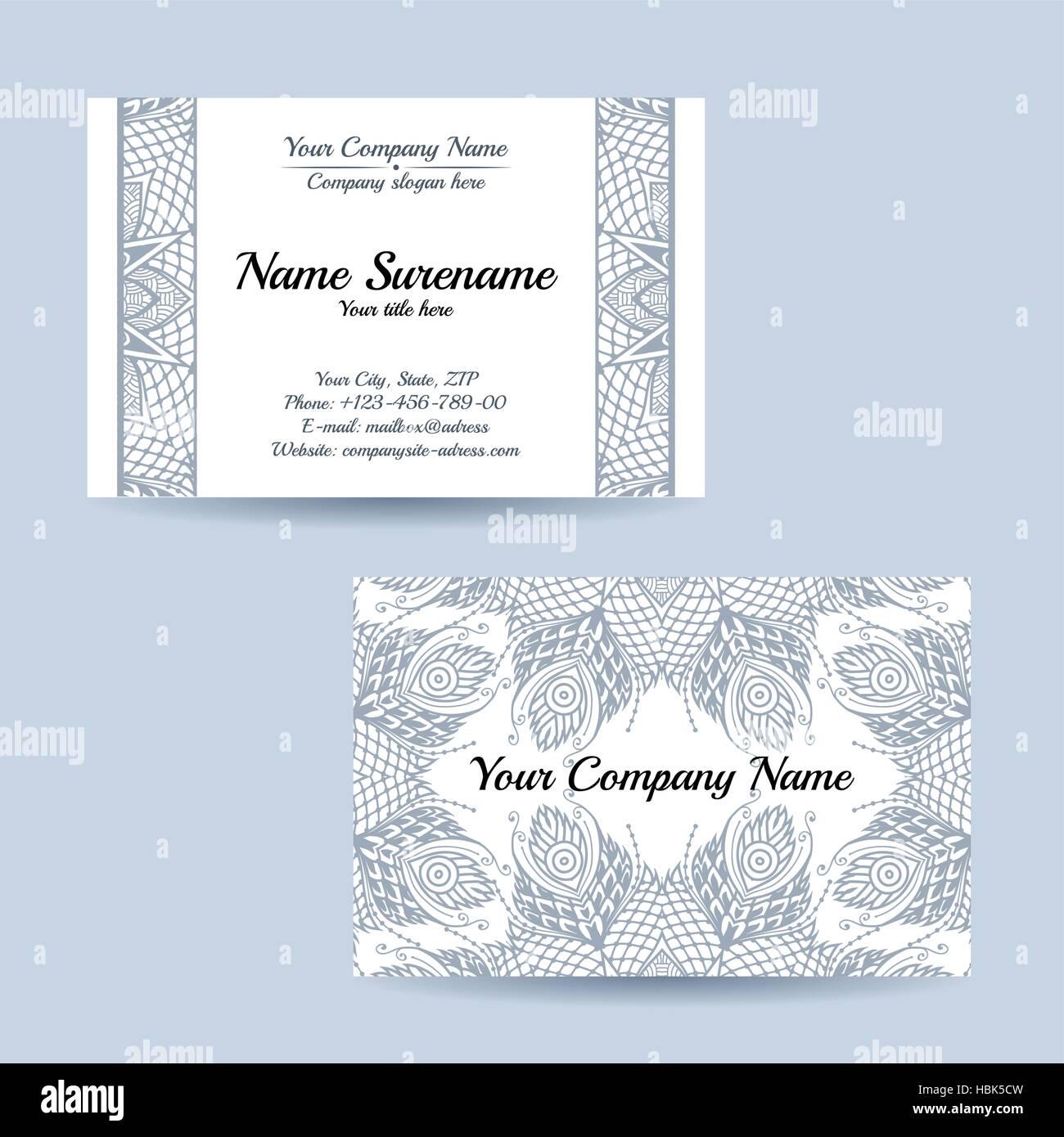 Carte De Visite Recto Verso Avec Un Motif Floral Tribal Vector Illustration Modele Pour Votre Entreprise Vintage Ornament Couleur Legere Sur White