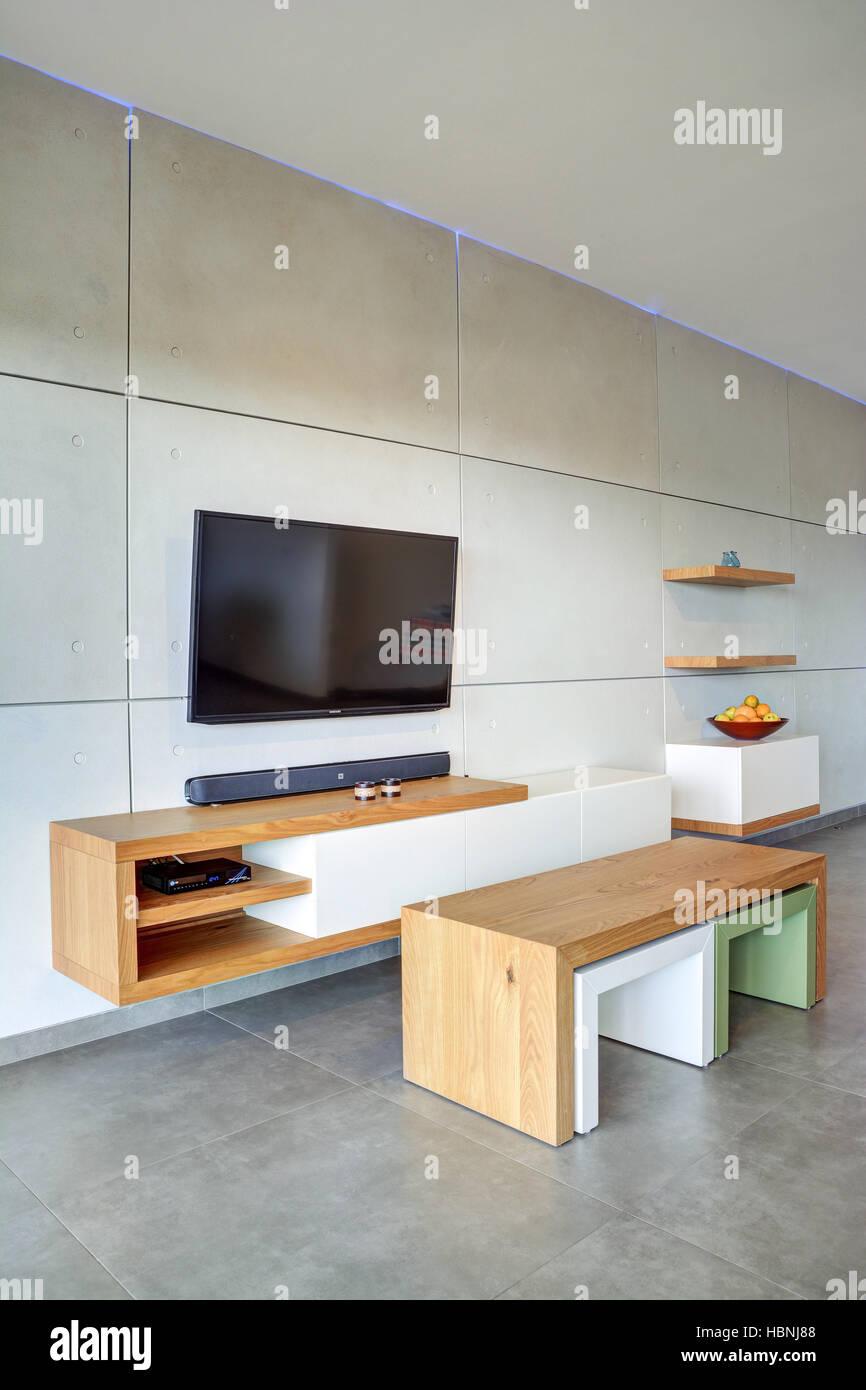 Gray style salon moderne avec intérieur décoration maison ...