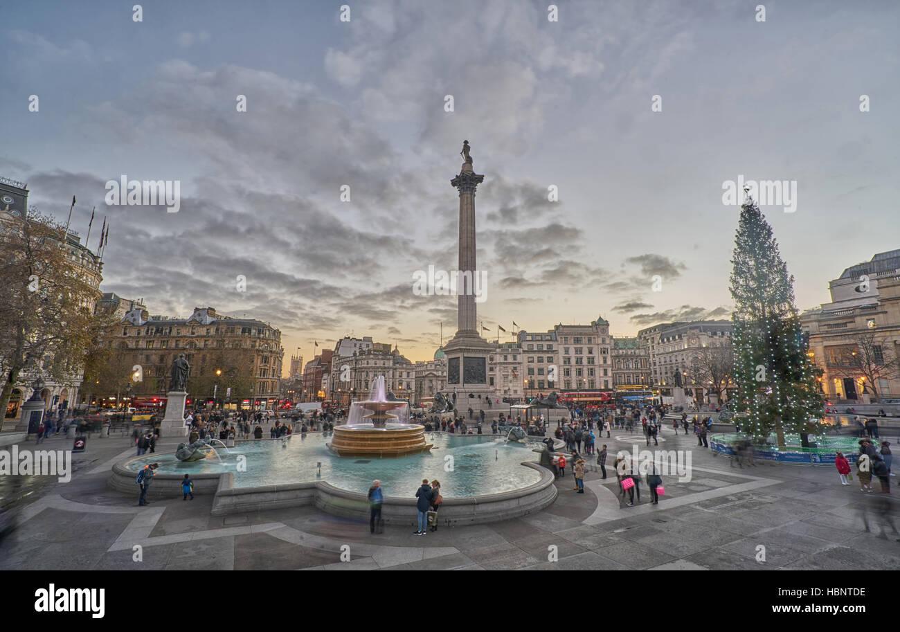 Trafalgar Square, Londres. Noël à Londres. Photo Stock