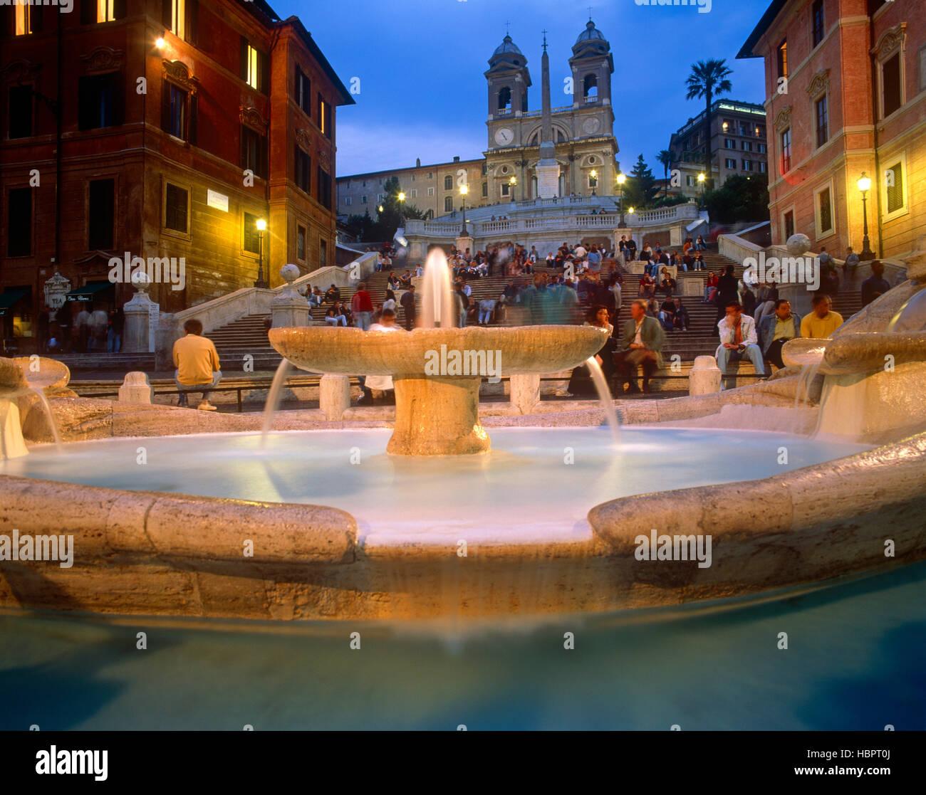 D'Espagne au crépuscule, Rome, Latium, Italie Photo Stock