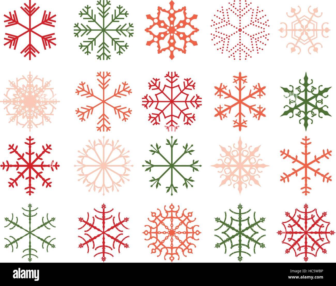 Hiver Flocon Neige Dessins Formes Geometriques Abstraites En Vert Rouge Et Rose Vif Couleurs Image Vectorielle Stock Alamy