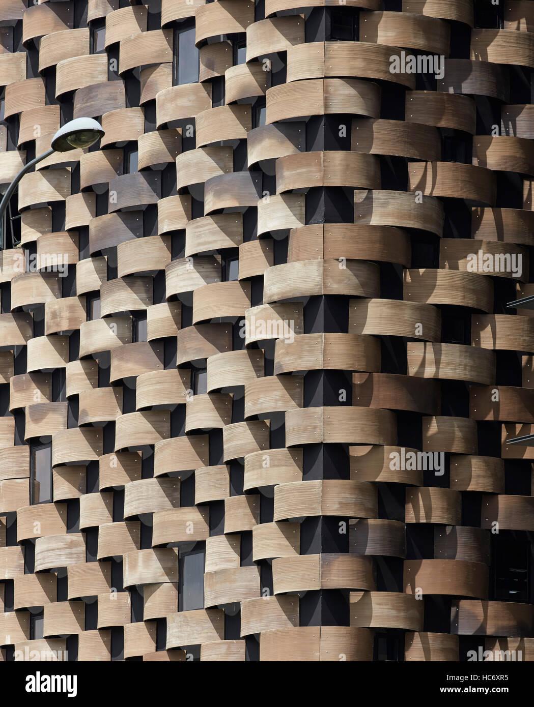 Détail de la façade extérieure recouverte de céramique. Sélectionnez Group Headquarters, Singapour, Singapour. Architecte: Banque D'Images