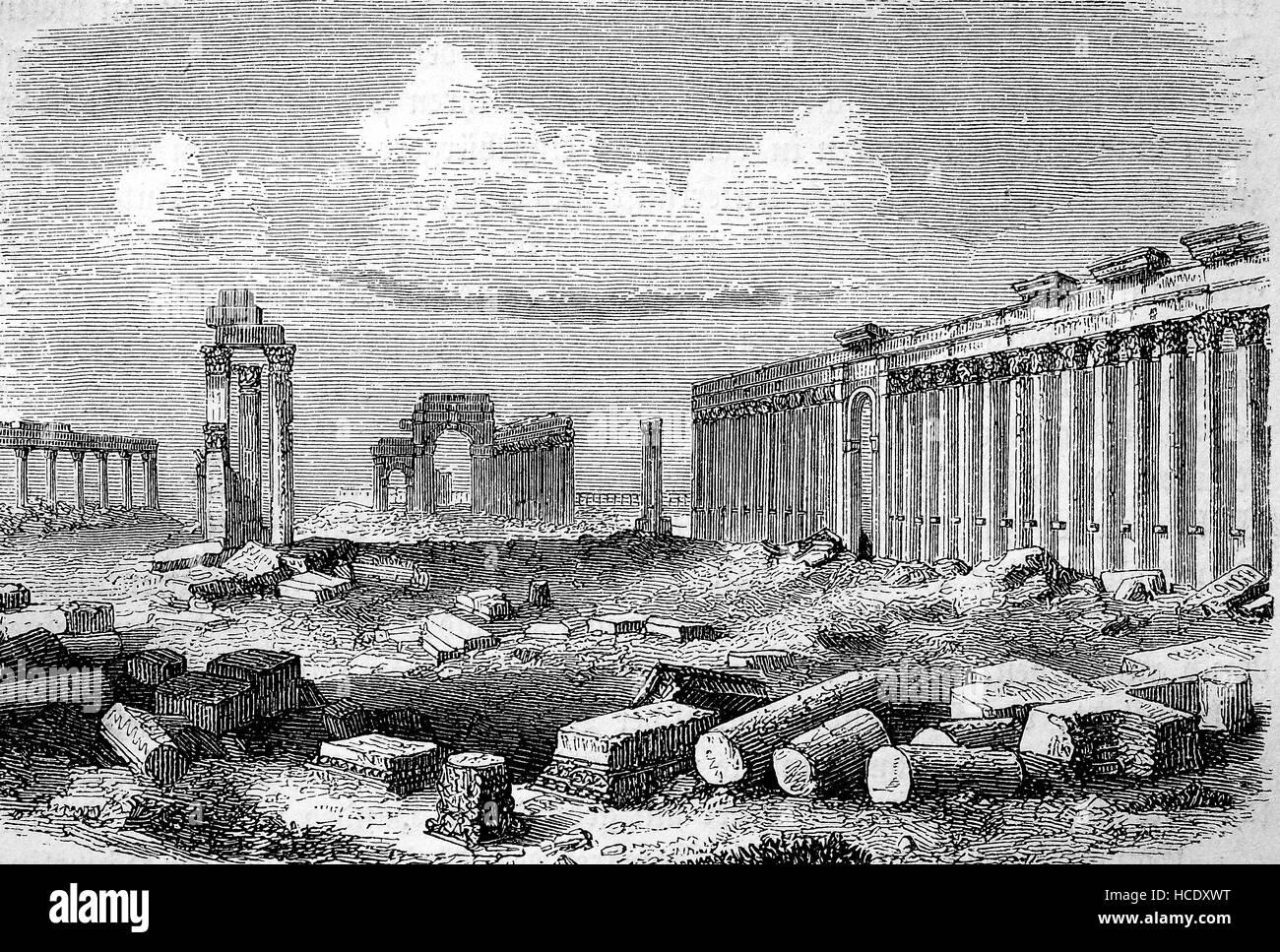 Les ruines de Palmyre, en Syrie, en 300 de notre ère, l'histoire de la Rome antique, Empire romain, Italie Photo Stock