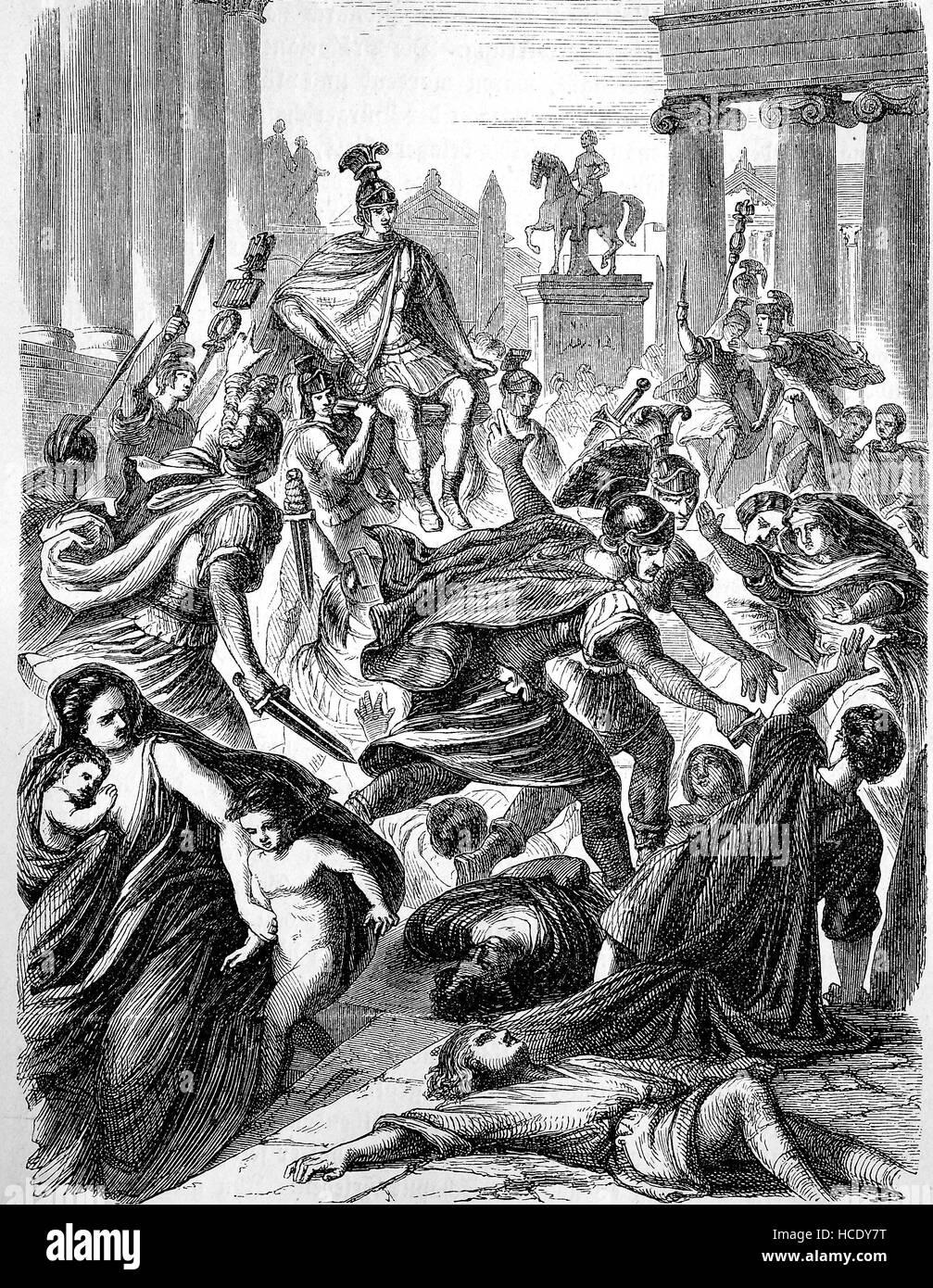 Rébellion de la garde prétorienne, AD 306, l'histoire de la Rome antique, Empire romain, Italie Photo Stock