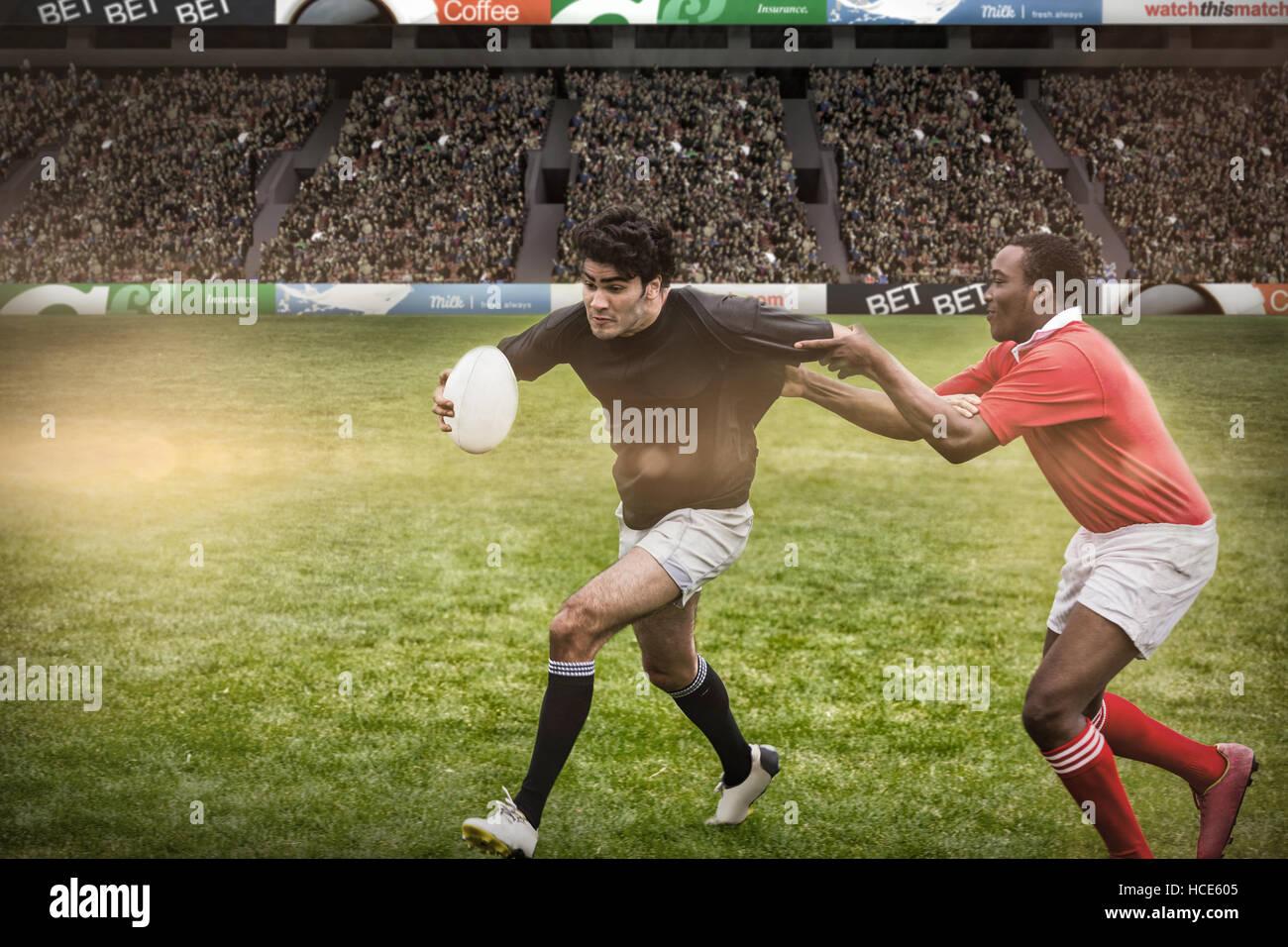 Image composite de rugby fans dans arena Photo Stock