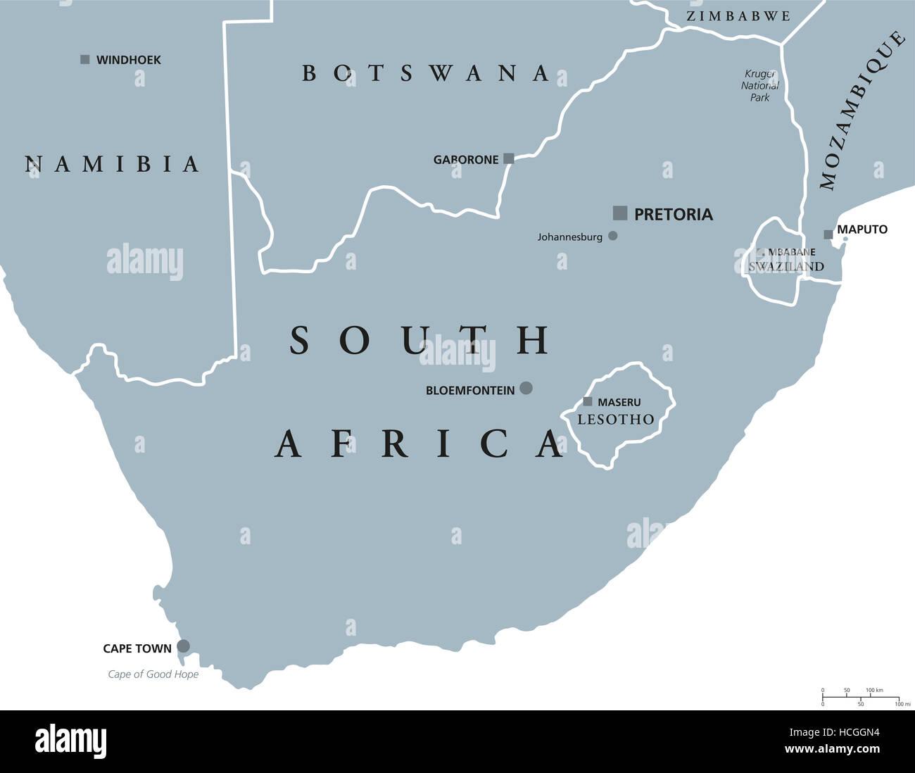 Carte De Lafrique Du Sud Avec Les Capitales.Carte Politique De L Afrique Du Sud Avec Les Capitales