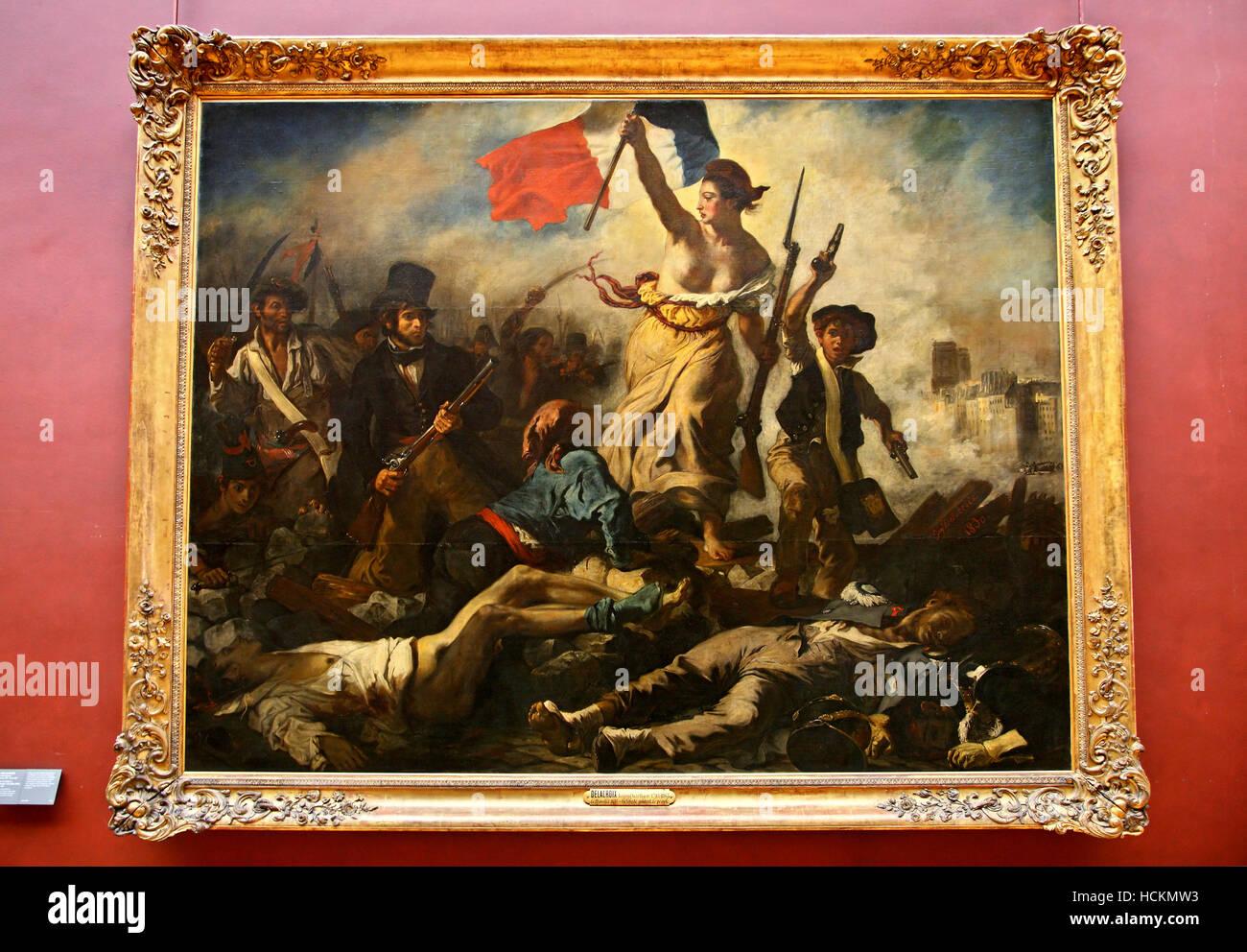 Eugene Delacroix Peinture La Liberte Guidant Le Peuple Au Musee Du Louvre Paris France Photo Stock Alamy