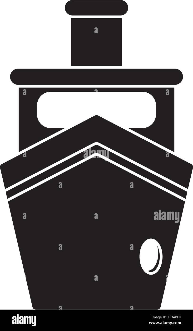 Bateau à vapeur de transport bateau silhouette Photo Stock