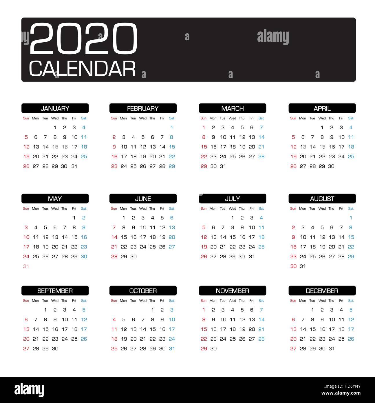Modele De Calendrier 2020.Annee 2020 Modele De Calendrier Vecteurs Et Illustration