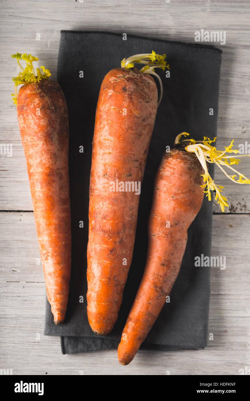 Des carottes crues sur le fond en bois blanc à la verticale Banque D'Images