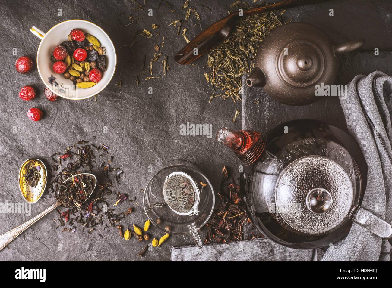 Concept top voir la diversité de thé Photo Stock