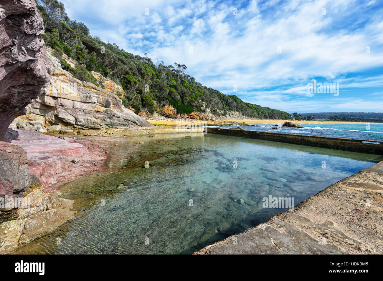 Vue d'Eden Rock Pool, Côte Sud, New South Wales, NSW, Australie Photo Stock
