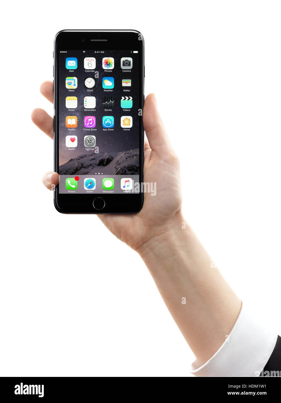 Woman Hand Holding Apple Iphone 7 Smartphone Plus Isole Sur Fond