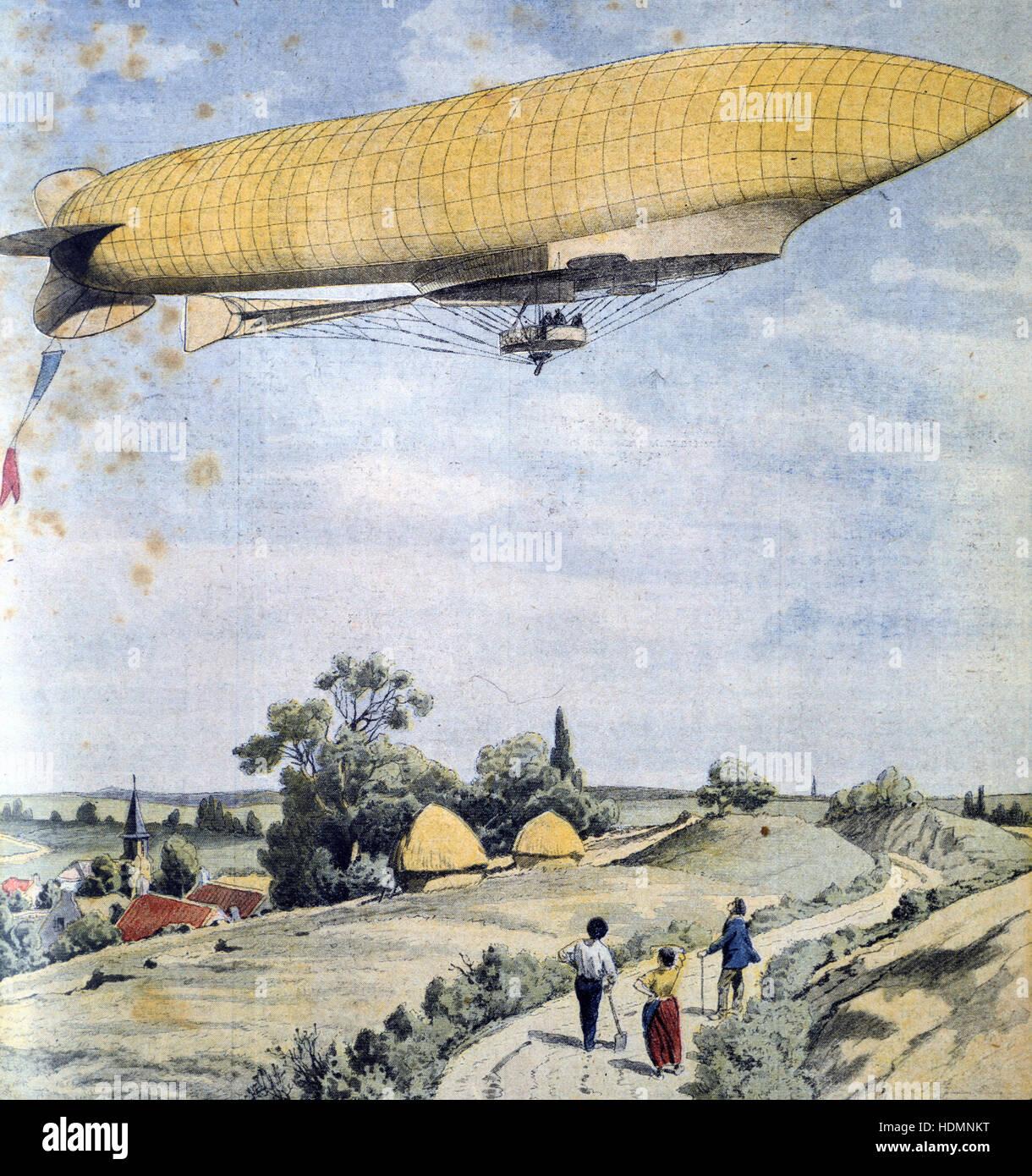 'Le Petit Journal' Paris, 20 septembre 1908 - dirigeable militaire française La République pour son premier vol Banque D'Images