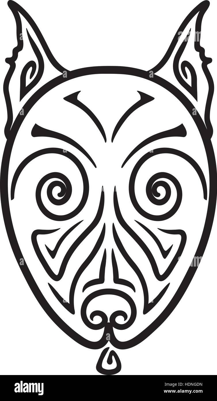 Dessin Tatouage Maorie bull-terrier américain de mine de la tête de chien dessin tatouage