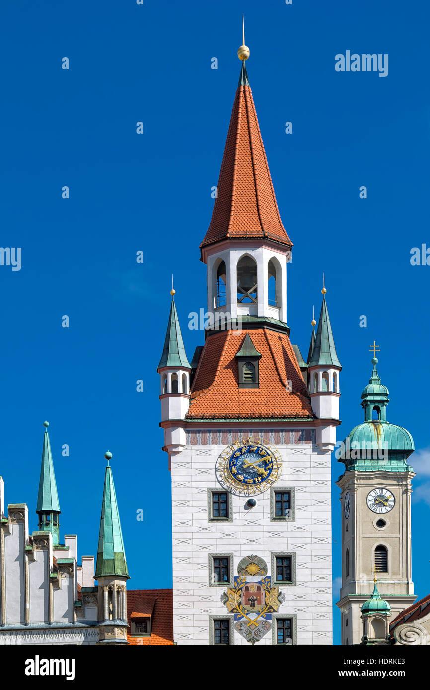 Ancien hôtel de ville sur la Marienplatz, Munich Banque D'Images