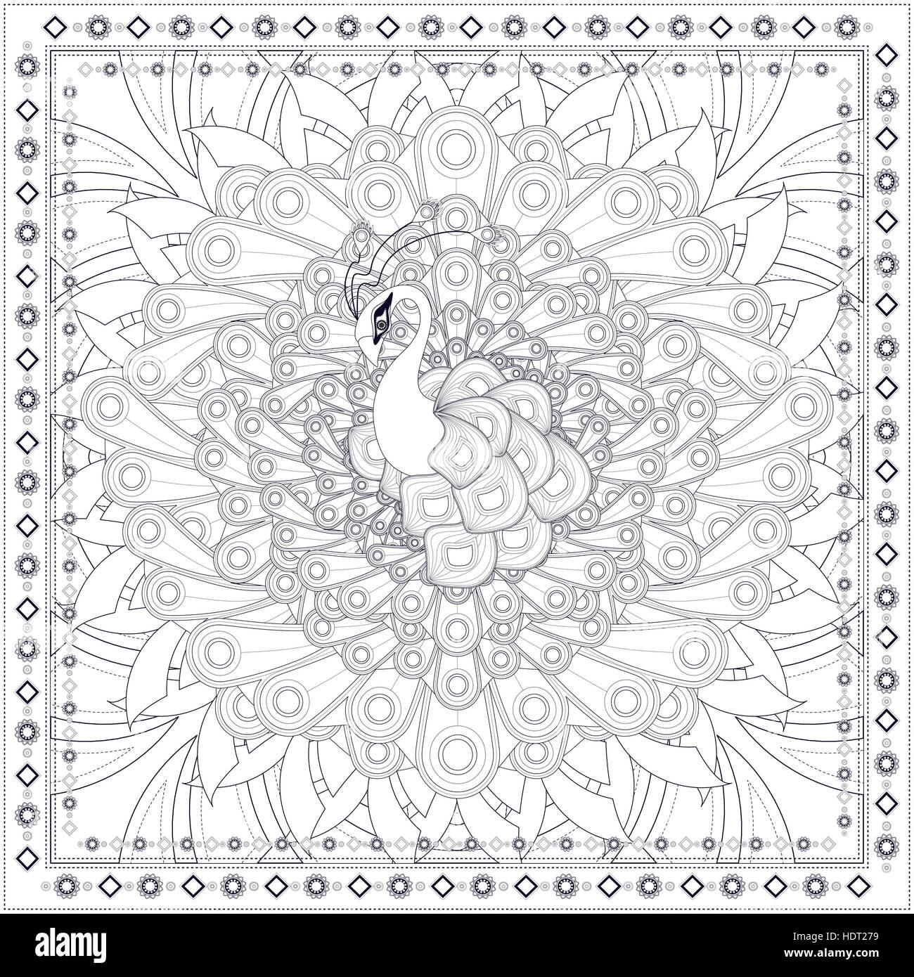 Paon magnifique coloriage design en style ethnique vecteurs et illustration image vectorielle - Coloriage magnifique ...