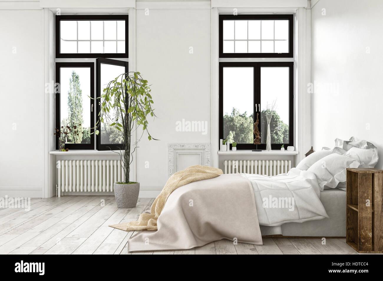 Chambre de luxe moderne et lumineux avec de grandes fenêtres donnant ...