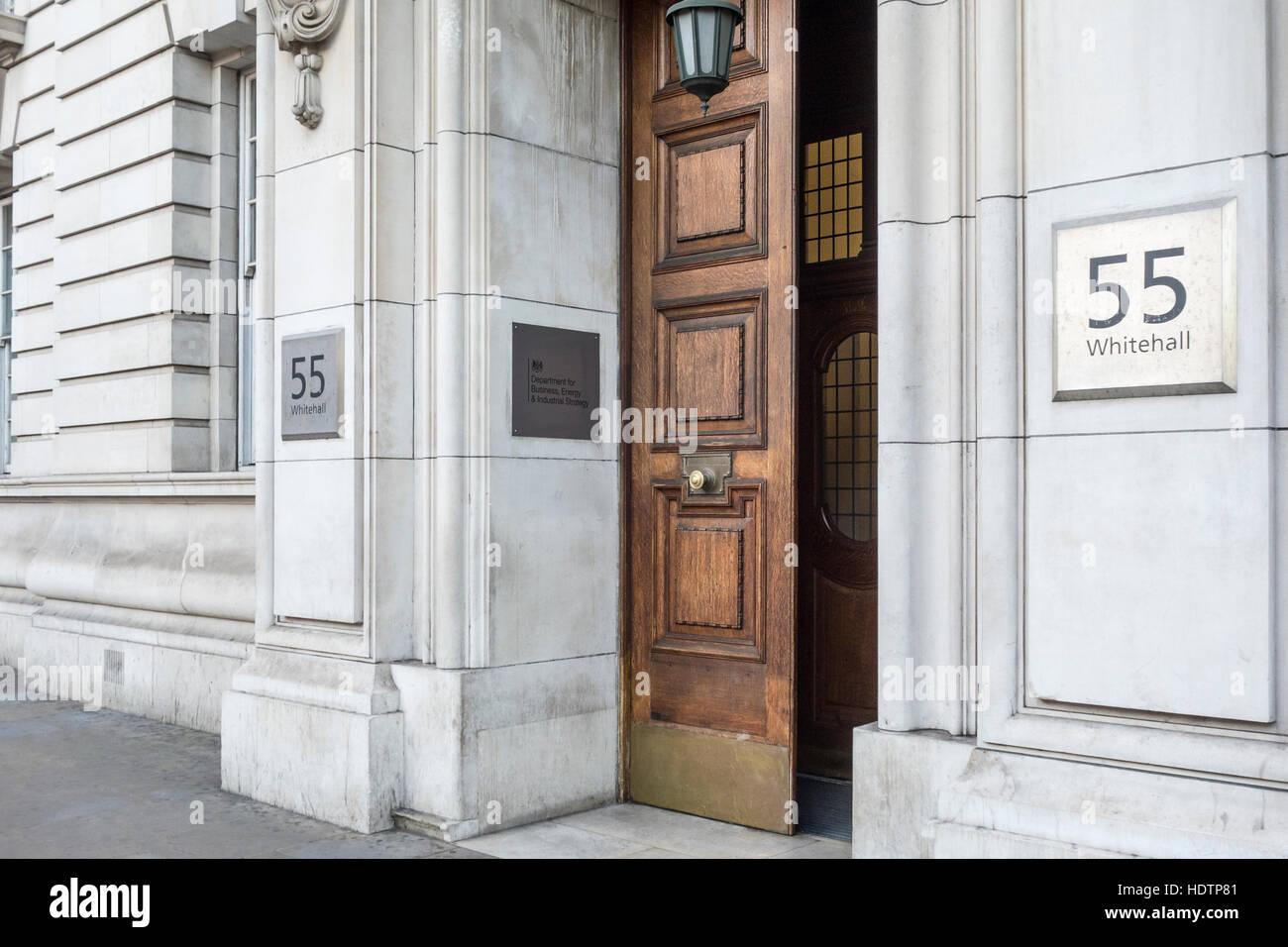 Ministère de l'économie de l'énergie et de stratégie industrielle, 55 Whitehall, Londres, Photo Stock