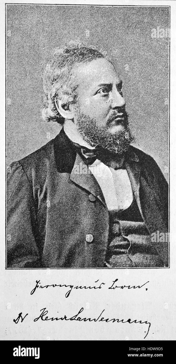 Heinrich Landesmann, Hieronymus Lorm, 1821 - 1902, un poète et écrivain autrichien philosophique, gravure Photo Stock
