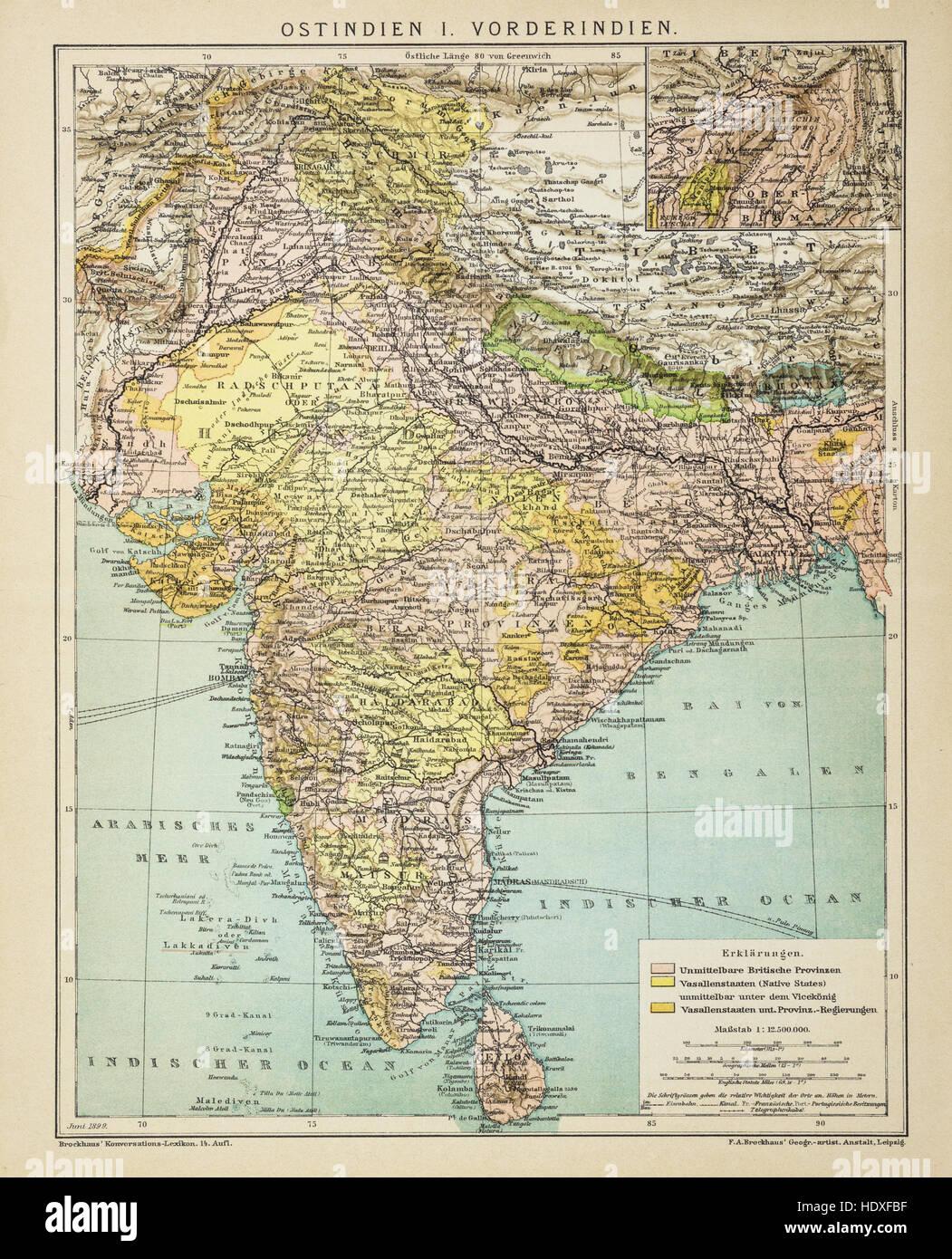 Carte De Linde En 1900.Ancien Et Vintage Carte De L Inde En 1900 Banque D Images