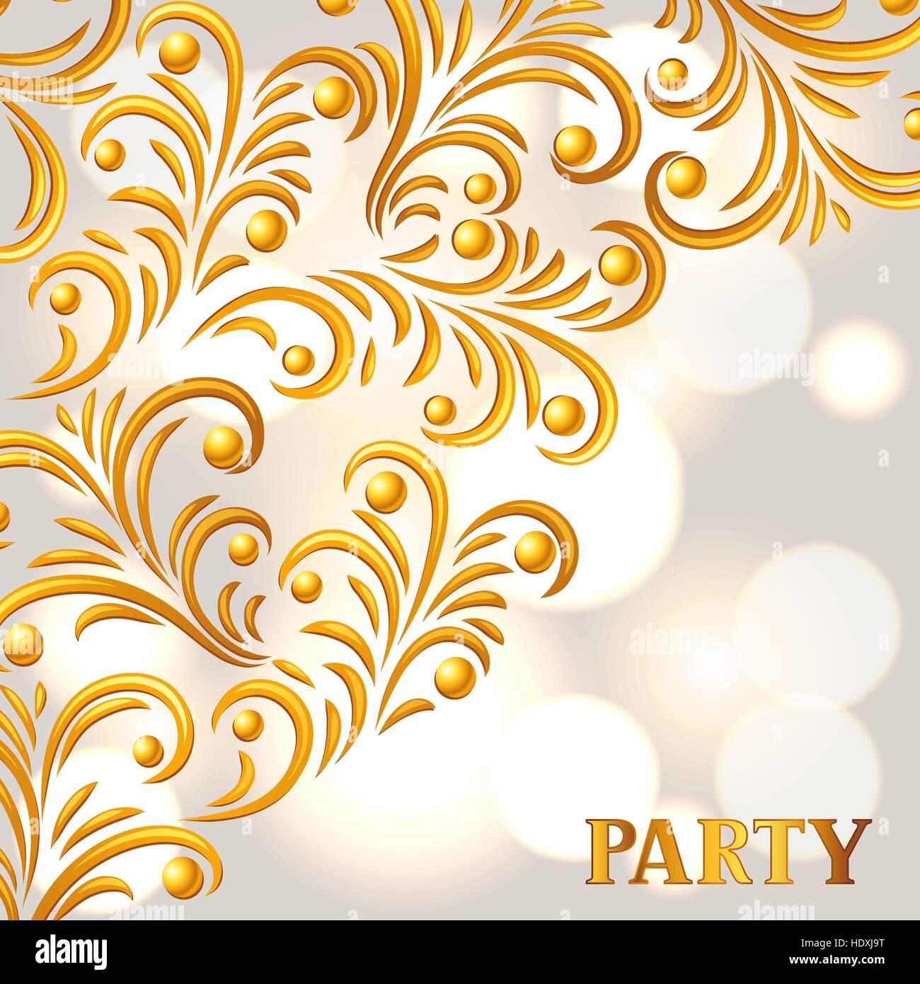 Celebration Party Background Avec Ornement Doré Message Daccueil