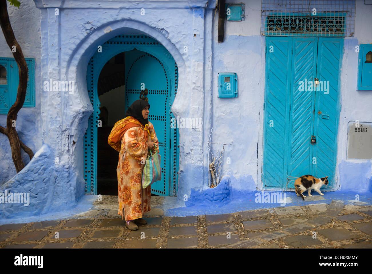 Rues et ruelles de la médina de Chefchaouen, Maroc Photo Stock