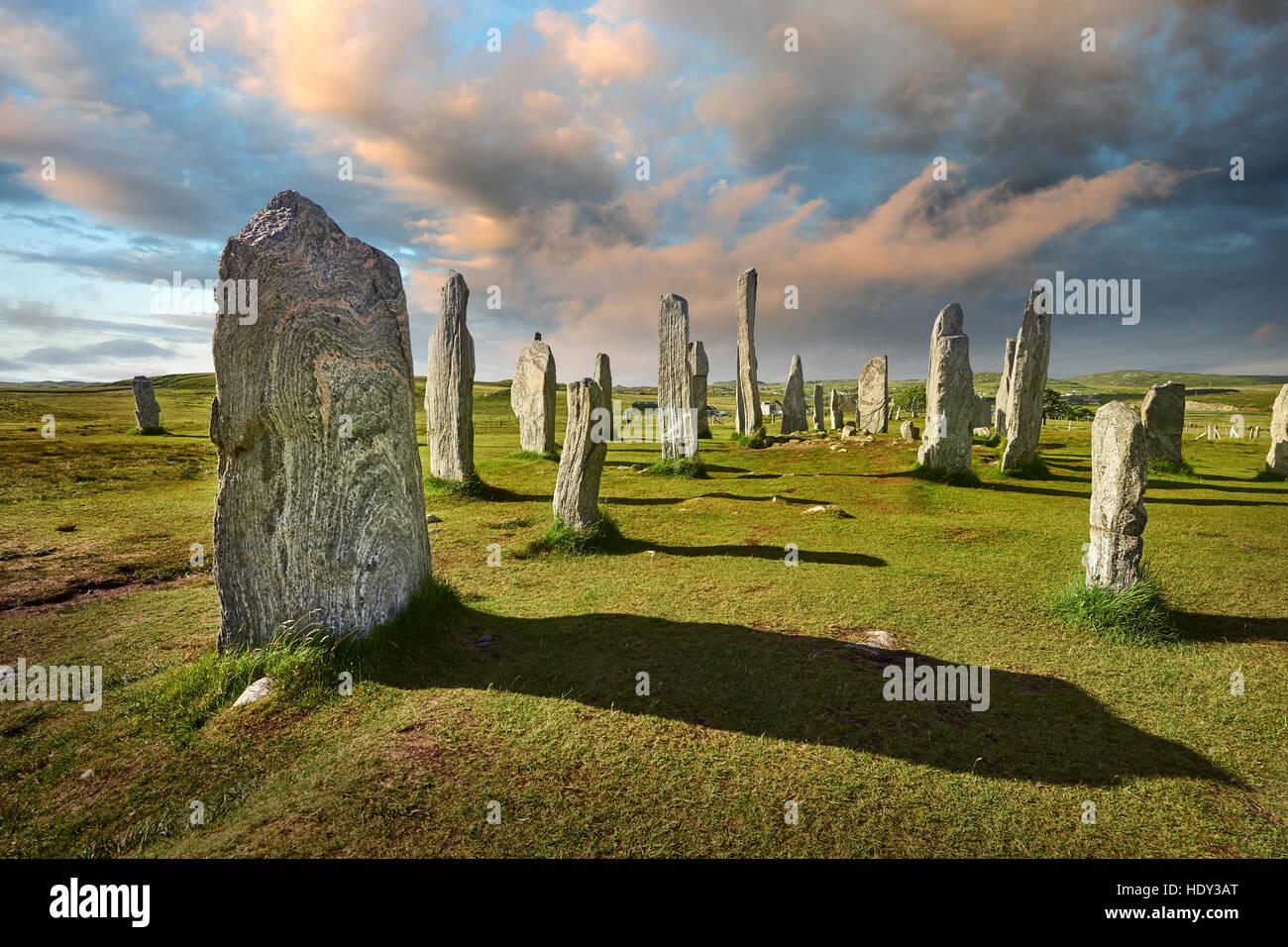 Calanais Standing Stones cercle central en pierre érigée entre 2900-2600BC, à l'île de Lewis Photo Stock