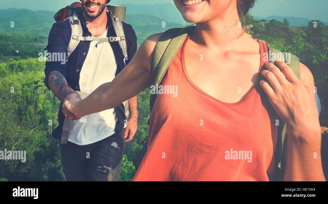 Deux voyageurs amour bonheur Concept Photo Stock