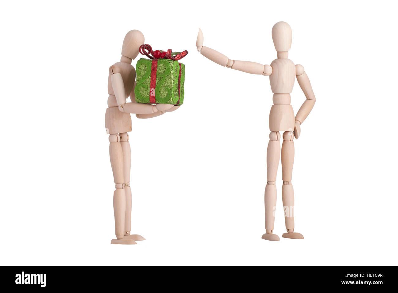 Mannequin en bois cadeaux rejeté Photo Stock