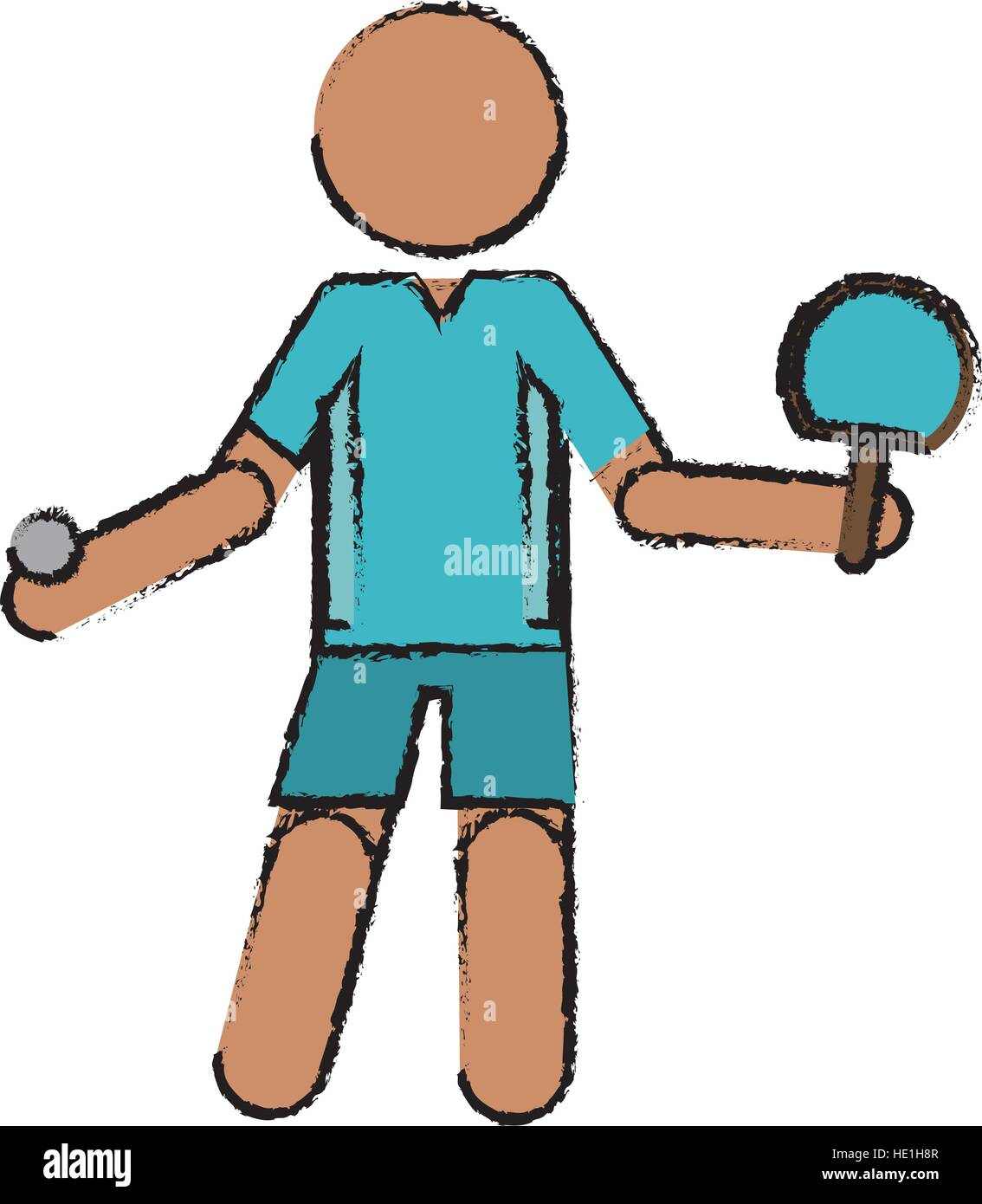 Caractère de dessin joueur de ping-pong avec raquettes Illustration de Vecteur