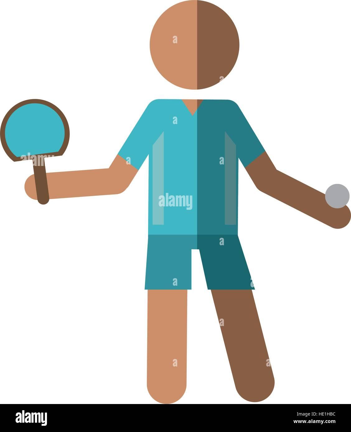 Personnage joueur de ping-pong avec raquettes Illustration de Vecteur