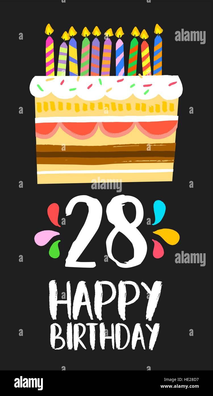 Joyeux Anniversaire Numero 28 Carte De Souhaits Pour Vingt Huit Ans De Fun Art Style Avec Gateau Et Bougies Invitation Anniversaire Felicitations Image Vectorielle Stock Alamy