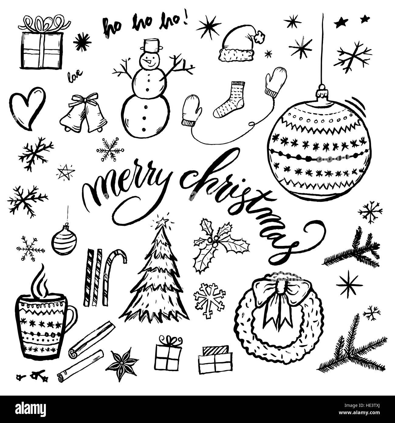 Joyeux Noel A La Main Illustration Isole Sur Fond Blanc Avec Le