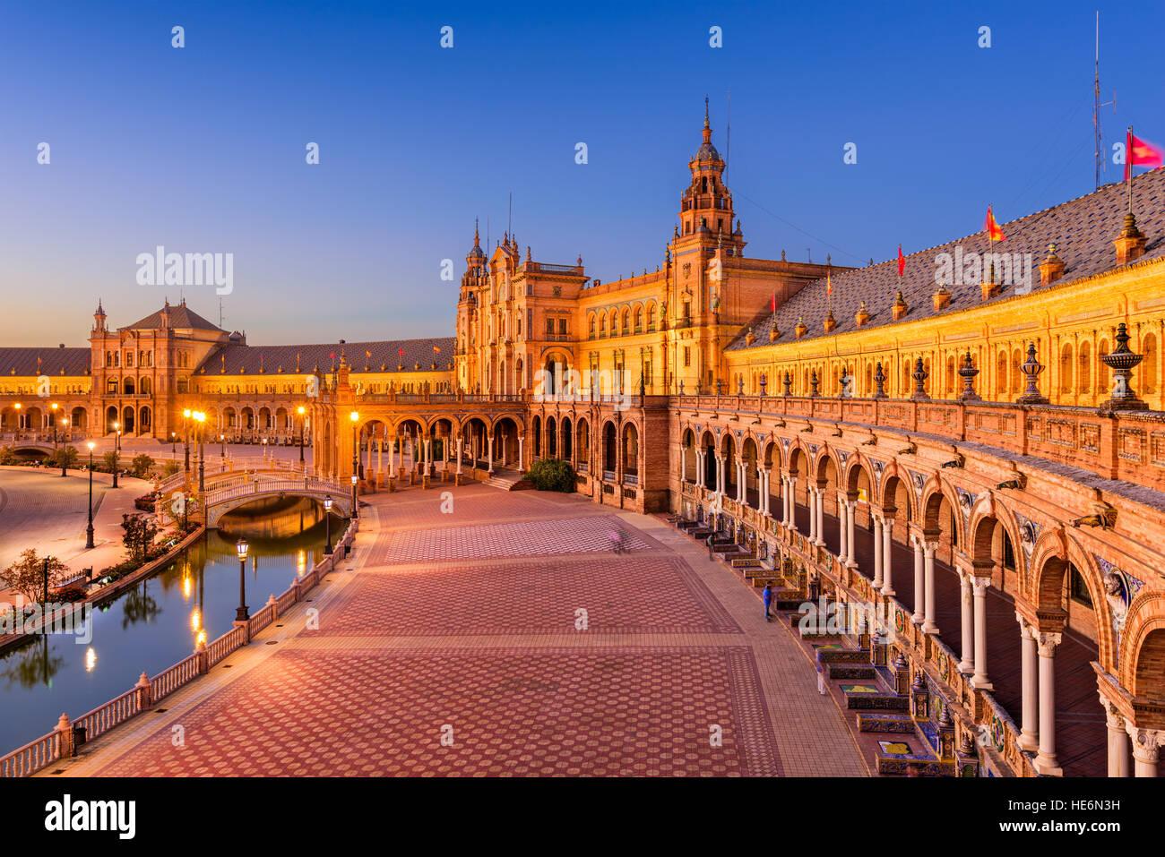 Séville, Espagne à Place d'Espagne. Photo Stock